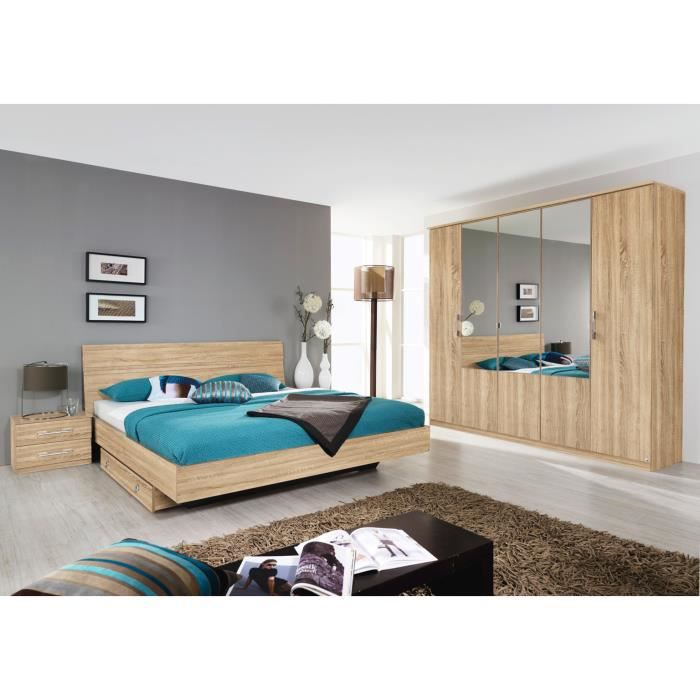 chambre coucher compl te contemporaine ch ne clair vanina ii avec tiroir lit 180 x 200 cm. Black Bedroom Furniture Sets. Home Design Ideas