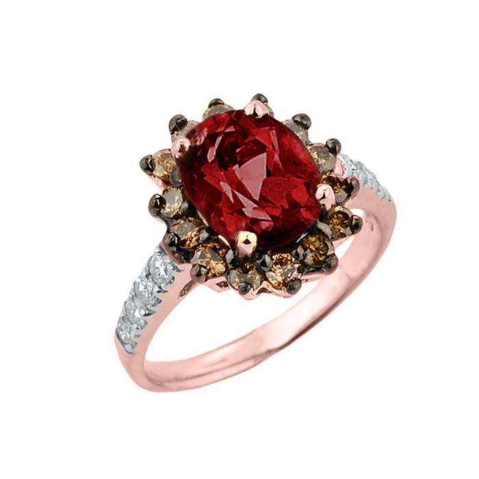 Bague Femme 14 ct Or rose 585/1000 GrenatetDiamant