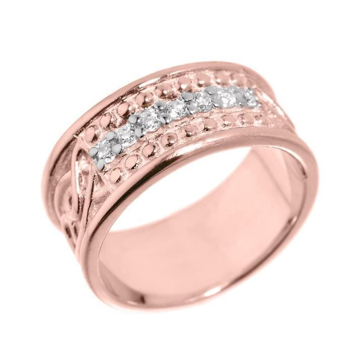 Bague Femme Alliance 10 ct Or rose 471/1000 Celtique Nœud Oxyde de Zirconium
