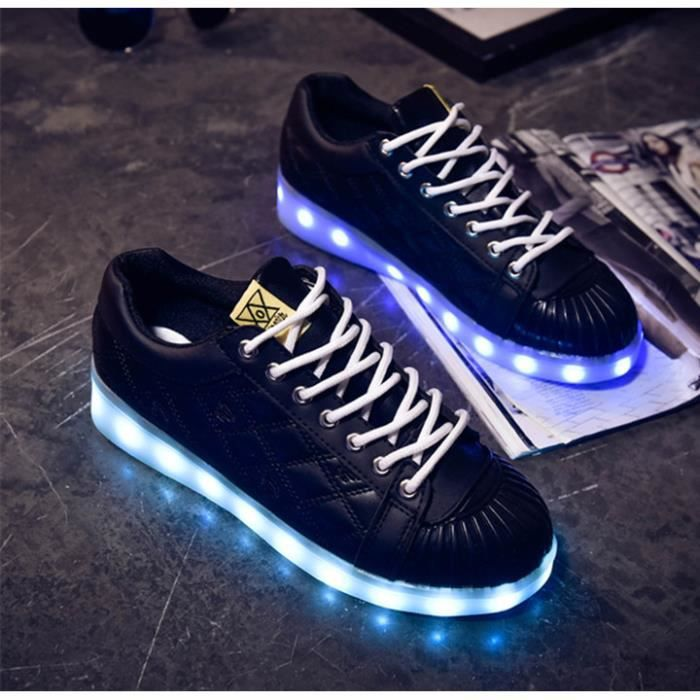 Couleurs Basket Achat 7 Lumineuse Noir LED Chaussure Femme n0wPkO
