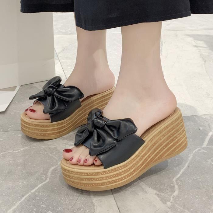 Femmes Talon Compensé Plateforme Talon Haut Flip Flops Chaussons Chaussures Antidérapage Sandales de plage