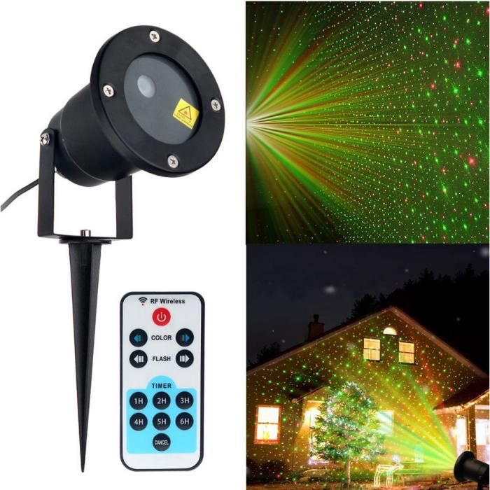 No l rouge et verte pelouse projecteur de lumi re laser for Projecteur exterieur noel