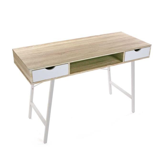 Table De Bureau Scandinave Naturel Et Blanc L 120 X L 48 X H 76 Cm Achat Vente Bureau Table De Bureau L120xl48xh76 Soldes Cdiscount