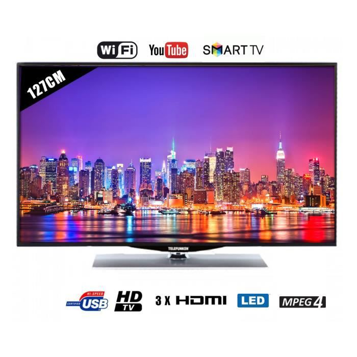 tv led telefunken 127 cm 50 smart tv usb 3hdmi. Black Bedroom Furniture Sets. Home Design Ideas