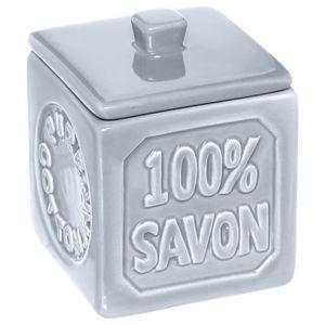 DISTRIBUTEUR DE COTON Pot à coton 100% savon - Céramique - Bleu gris