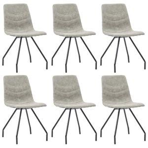 CHAISE HENGL Chaises de salle à manger 6 pcs - Gris Simil