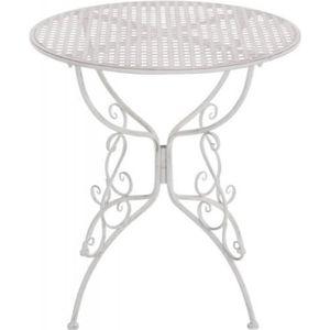 TABLE DE JARDIN  Table de jardin en fer forgé diamètre Ø 70 cm blan