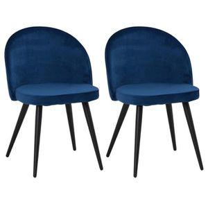 CHAISE Lot de 2 chaises VELVET en velours bleu pour salle