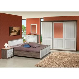 Chambre adulte complete avec armoire porte coulissante for Achat chambre adulte complete
