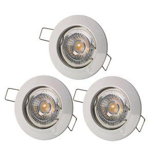 SPOTS - LIGNE DE SPOTS LOT DE 3 SPOT ENCASTRABLE FIXE LED 230V BLANC AVEC