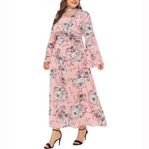 ROBE Mode féminine Taille Plus encolure en V à manches