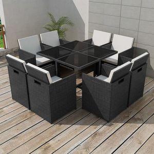 SALON DE JARDIN  25 pcs Jeu de mobilier de jardin Noir Ensemble tab