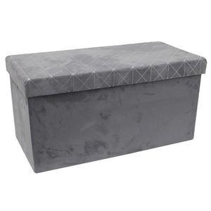 COFFRE - MALLE Coffre rangement banc pliable en MDF coloris gris-