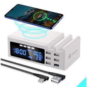 CHARGEUR TÉLÉPHONE 6-Port Chargeur USB Sans fil Qi Rapide mur Station