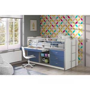 LIT COMBINE  Lit combiné avec bureau bleu 90x200 - Terre de nui
