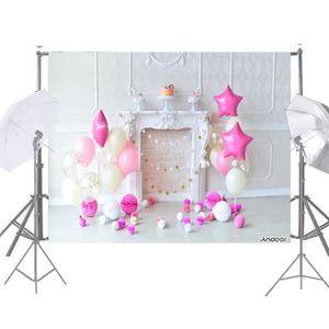FOND DE STUDIO Photographie Fond Rose Ballon Papier Poms Cheminée