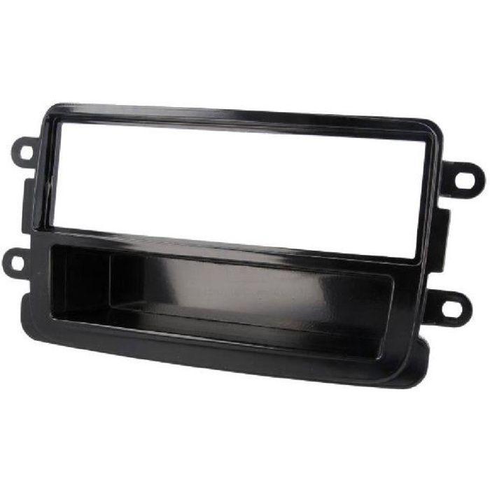 Facade Autoradio 1DinDacia Dokker/ Duster/ Lodgy/ Sandero ap12 - Noir brillant - avec vide-poche - ADNAuto