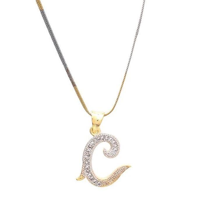 Chaine De Cou Vendue Seule LCN86 Pendentif en diamant américain lettre `` C '' plaqué or Alphabet médaillon pour et avec chaîne