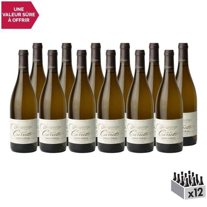 Saint-Véran Les Chatenays Blanc 2019 - Lot de 12x75cl - Domaine Carrette - Vin AOC Blanc de Bourgogne - Cépage Chardonnay