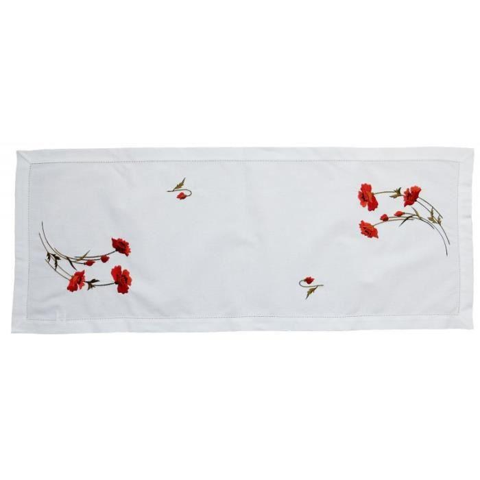 Chemin de table brodé blanc 40x100cm Coquelicots