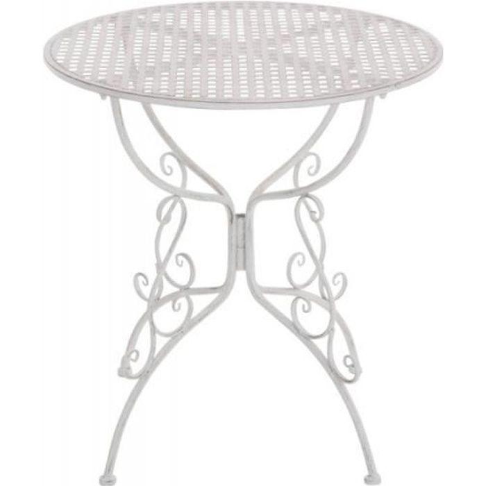 Table de jardin en fer forgé diamètre Ø 70 cm blanc vieilli MDJ10047