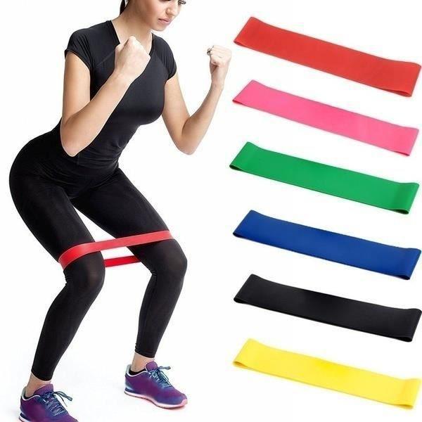 support élastique au poignet Noir Élastique Yoga Pilates Latex Bande De Résistance Exercice Force Force Formation De Poids Bande De