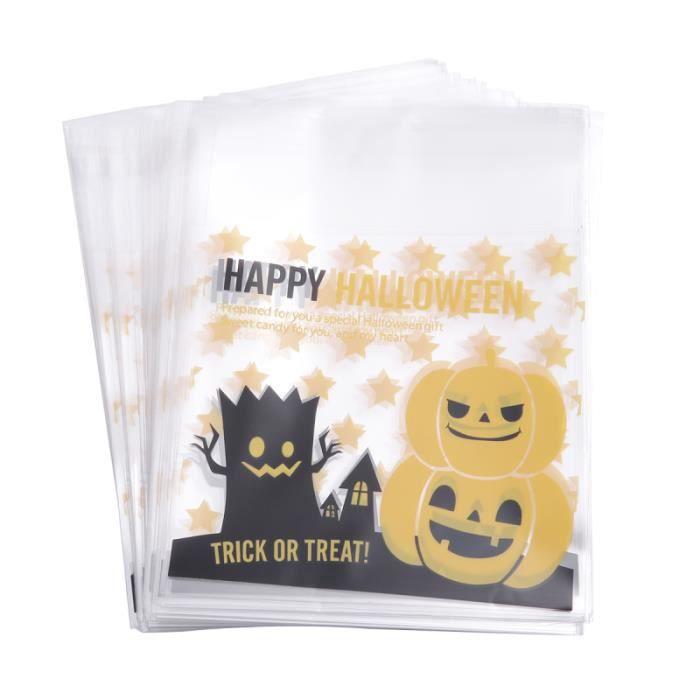 100 pcs sacs en plastique auto-adhésif mignon monstre arbre Halloween sac d'emballage pour biscuit au chocolat HANDBAG