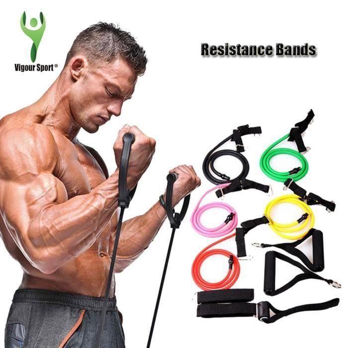 Jaune 1.2m Résistance Fitness bandes de résistance Tubes Corde d'exercices bandes d'exercice élastique