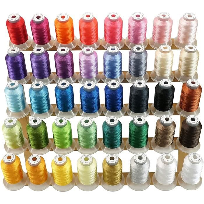 New brothread 40 Brother Couleurs Polyester Fil machine à broder pour Brother / Babylock / Janome / Singer / Kenmore Machine 500M (5