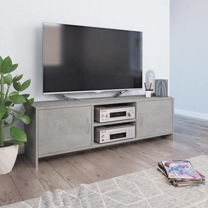 CHEZZOE Meuble TV Design - Meuble de rangement Meuble de Télévision Gris cement 120 x 30 x 37,5 cm Aggloméré ☺68101