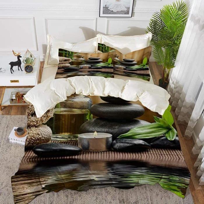 Parure de lit Zen Basalte Pierres Bambou sur Bois et Eau Méditation Yoga Spa Housse de Couette avec 2 Taies -100x140cm[54]