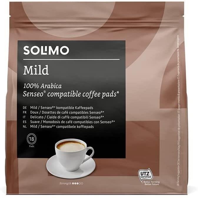 Marque Amazon - Dosettes de Café Mild Compatibles Senseo - 90 Dosettes (5 Paquets x18)