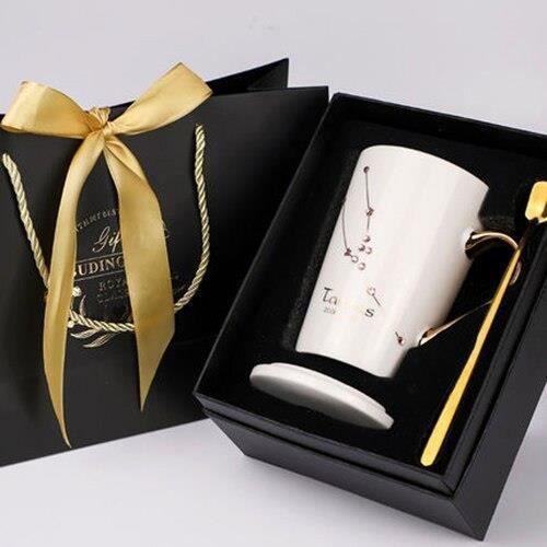 tasses,Tasses à café en céramique de 420ml,tasse à thème étoilé,boîte cadeau avec couvercle et cuillère,tasse à - Type White Taurus
