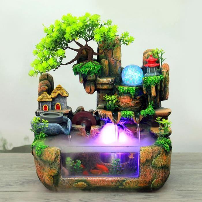 Ashata Fontaine de bureau Bonsaï de fontaine d'eau de rocaille de résine de simulation de bureau avec ornement de décoration de