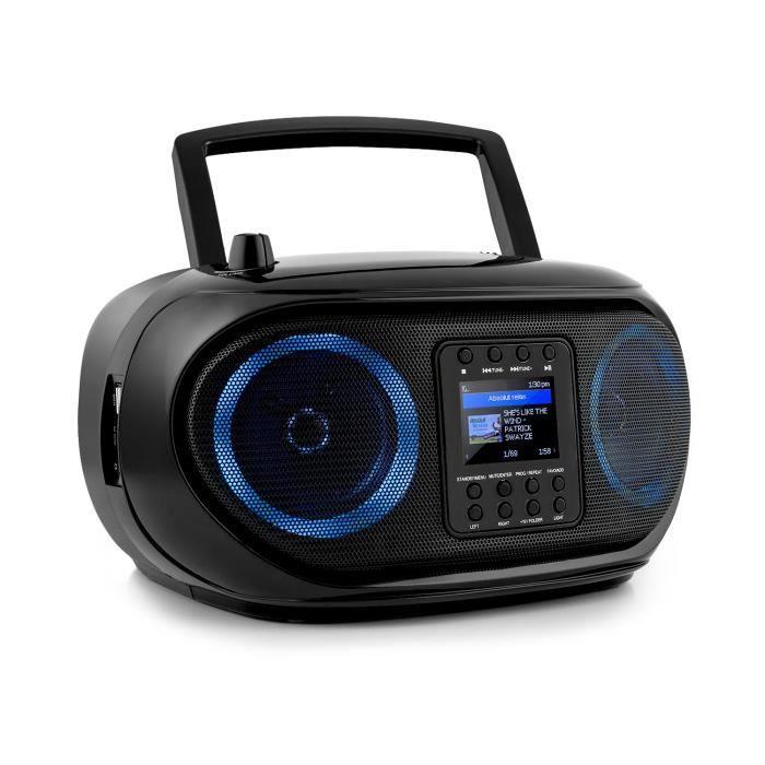 auna Roadie Smart Boombox Radio numérique DAB-DAB+ , FM & internet - Eclairage LED - WiFi - USB - Bluetooth - Noire