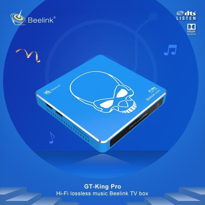 Beelink GT-King Pro TV Box 4GB+64GB Amlogic S922X-H Android 9.0 Hi-Fi Sans Perte Son 4K Dolby Audio Dts Écoute