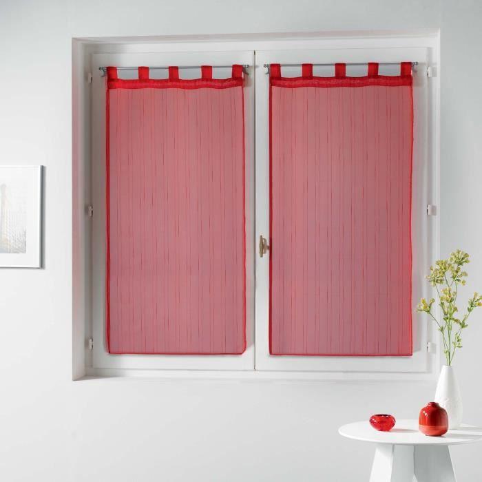 CDaffaires Paire droite passants 2 x 60 x 90 cm voile raye horizon Rouge
