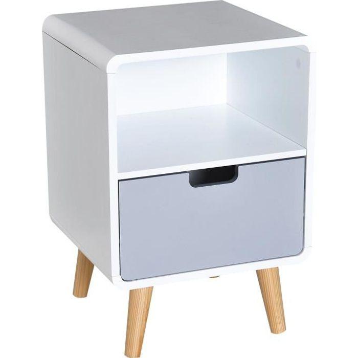 Chevet table de nuit design scandinave 40L x 38l x 58H cm tiroir + niche bois massif pin MDF blanc bleu gris 40x38x58cm Blanc
