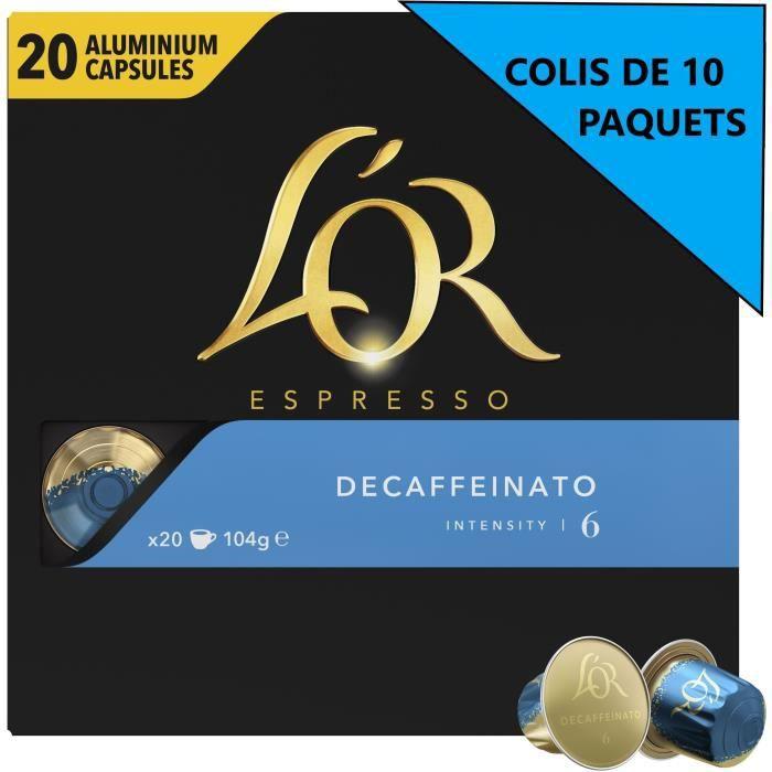 [Lot de 10] L'OR Café Espresso Décaféiné - Intensité 6 - Compatible Nespresso - 20 capsules - 104 g