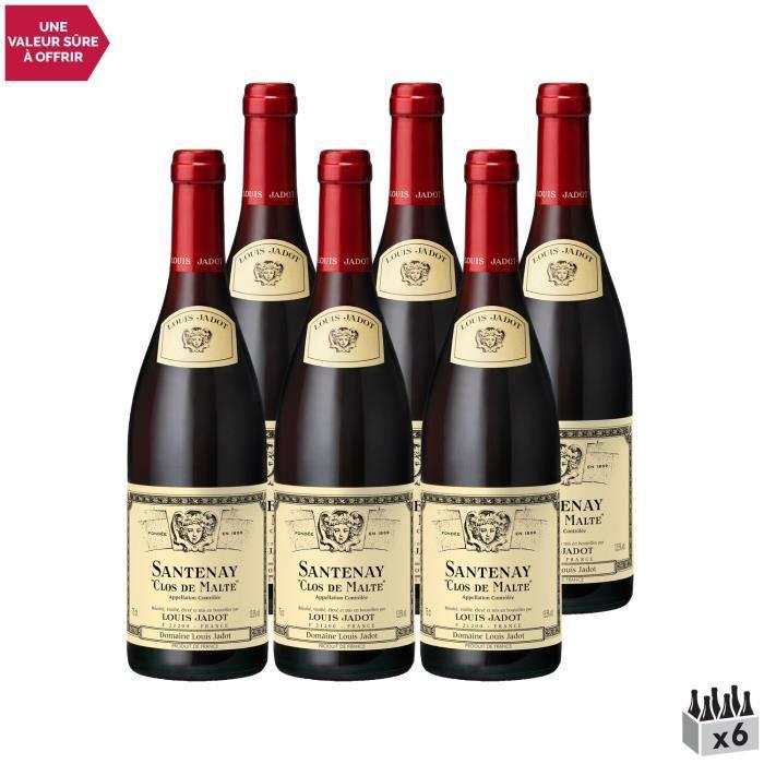 Santenay Clos de Malte Rouge 2016 - Lot de 6x75cl - Louis Jadot - Vin AOC Rouge de Bourgogne - Cépage Pinot Noir