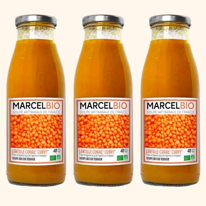 Marcel Bio - Soupe Lentilles Corail Patate douce Curry Bio 48cl - Pack de 3