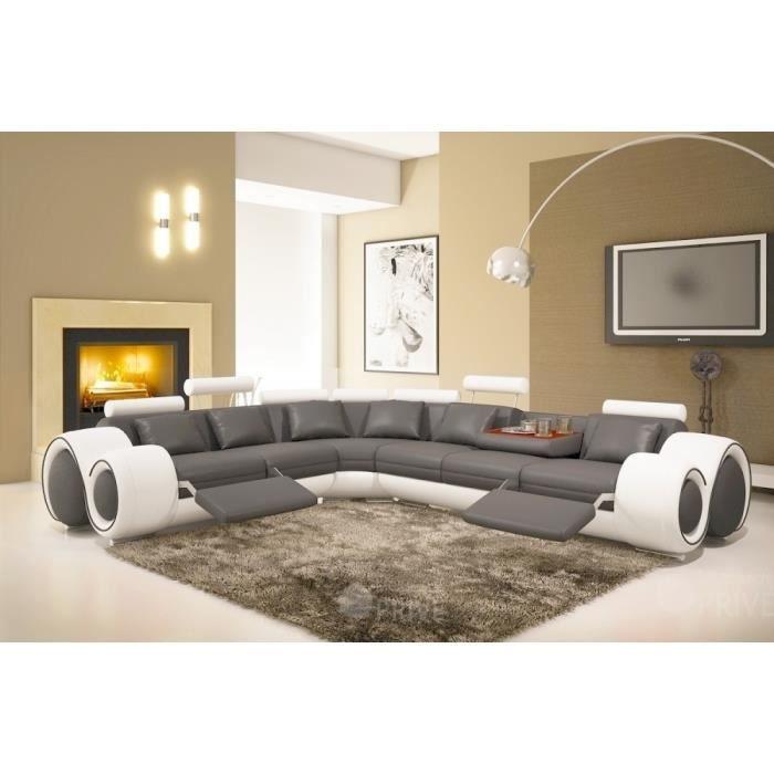 Canapé d'angle en cuir italien : 5/6 places PETIT EXCELIA, gris foncé et blanc, angle gauche vu de face.