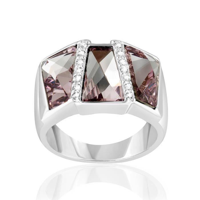 Bague Rectangle orné de cristaux de Swarovski Rose