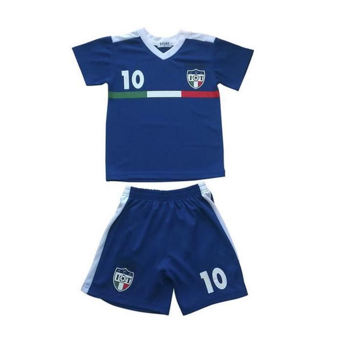 Ensemble De Vetements De Football - Tenue De Football - NPZ - Ensemble short et maillot de foot enfant Italie bleu Taille de 4 à 14