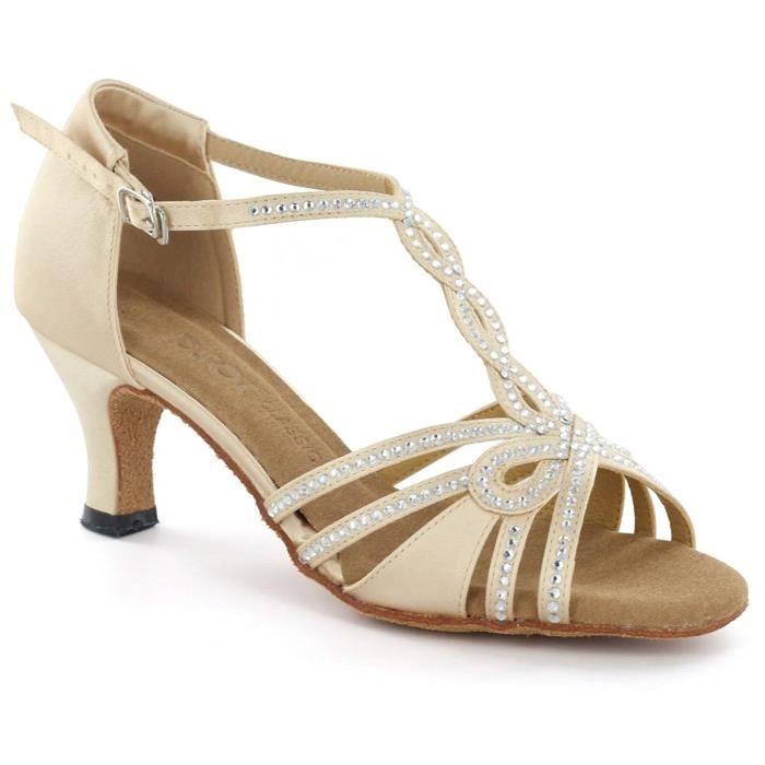 Bottines Professionnelles THPCT DSOL chaussures de danse latine DC6728T-6 talon 1,5 Taille-37 1-2