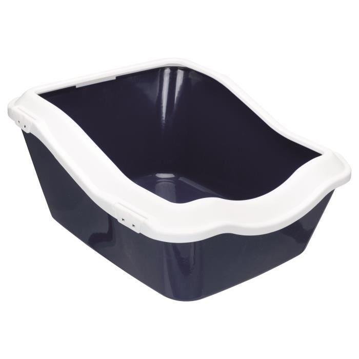 TRIXIE Bac à litière Cleany cat - 45 x 21 (29) x 54 cm - Bleu foncé et blanc - Pour chat