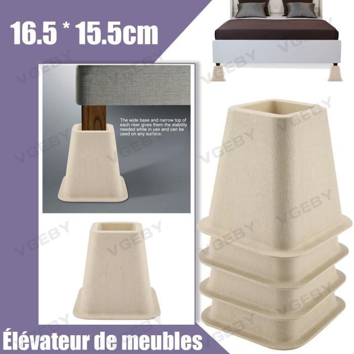 Ensemble de 4 Élévateurs de meubles Chaise de lit Canapé Riser Ensemble de levage de pieds REHAUSSEUR DE MEUBLE tout neuf