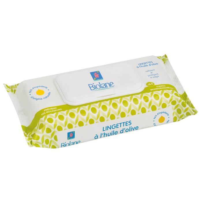BIOLANE Lingettes bébé à l'huile d'olive x64