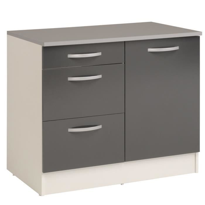 eko gris meuble de cuisine bas pour vier avec tiroirs 100cm achat vente elements bas eko. Black Bedroom Furniture Sets. Home Design Ideas