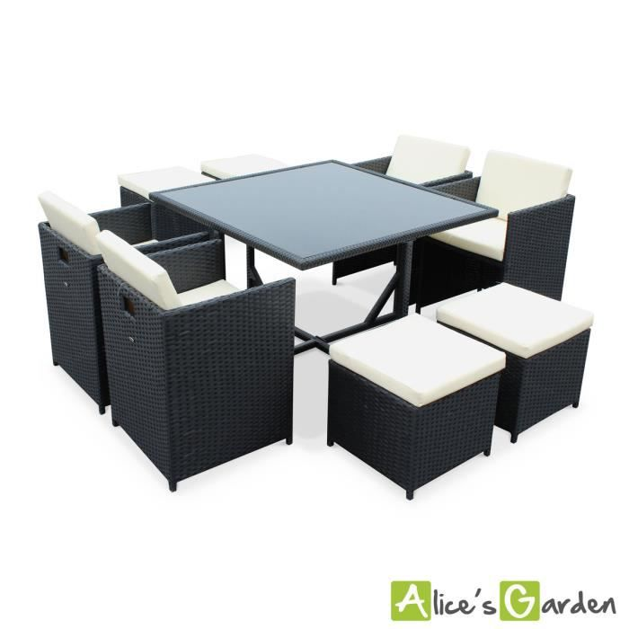 salon de jardin vasto noir table en r sine tress e 4 8. Black Bedroom Furniture Sets. Home Design Ideas